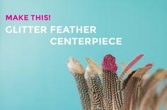 DIY Glitter Feather Centerpiece for a bohemian wedding Be You Bravely, Diy Wedding, Wedding Blog, Wedding Ideas, Wedding Theme Inspiration, Feather Centerpieces, Practical Wedding, Craft Projects, Glitter