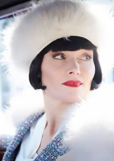 Phryne looking fabulous in fur ~ Miss Fisher's Murder Mysteries