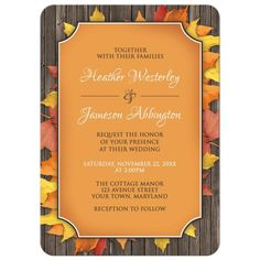 Wedding Invitations - Autumn Orange Wood Leaves