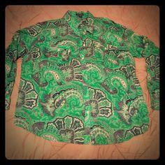Long sleeve button shirt Green with blue long sleeve button shirt. Has button on sleeve to fold sleeves up. Lightweight. Very soft and comfy. Worn once. Size 2X Lauren Jeans Co. Ralph Lauren Ralph Lauren Tops Button Down Shirts