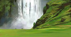 Cecile Carre Landscape Concept, Fantasy Landscape, Landscape Art, Fantasy Art, Environment Painting, Environment Concept, Environment Design, Landscape Drawings, Landscape Illustration