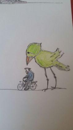 onze toneelman op de fiets