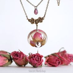 Dried roses flowers necklace half sphere resin romantic gift