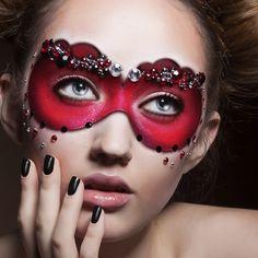 Avant-garde Eye Makeup with Red Mask Eyeshadow