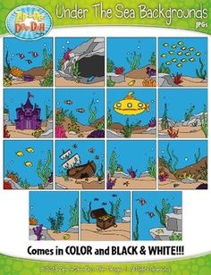 Under The Sea Themed Background Scenes Clip Art SetYou will receive 30 clipart graphics that were hand drawn by myself; 15 Color and 15 B/W Outlined Graphics. Please see the list below of themed background scenes that are including in this set. The graphics are high resolution (300 DPI) which means you to enlarge them without causing pixelation. $4.00