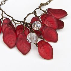 Red Necklace  Vintage Style Nature by CherylParrottJewelry on Etsy