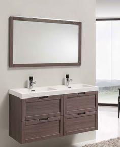 Mueble baño Creta 120 4 Cajones con freno  Disponible en melamina Lavabo acrilico Monaco blanco  Espejo opcional Norma o Marina
