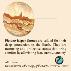Picture Jasper Stones are valued for their deep connection to the Earth. They are nurturing and protective stones that bring comfort by alleviating fear, stress and anxiety. #earth #jasper #healing #crystals