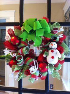 Deco Mesh Christmas Wreath snowman wreath poly mesh wreath  love the big green bow and snowman
