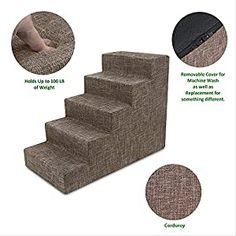 cool USA Made Pet Steps/Stairs with CertiPUR-US Certified Foam for Dogs & Cats by Best Pet Supplies – Brown Linen, 5-Step (H: 22.5″) Relieves Stress: Our stairs are the perfect accessory to help pets reach that high bed or couch! Available in 3-step, 4-step, and 5-step configurations to easily match your furniture's height. Supports Pet Health: Made with mattress-grade cushioning to relieve p... Dog Grooming Clippers, Pet Grooming, Cat Paws, Dog Cat, Stairs Covering, Dead Hair, Dog Haircuts, Pet Stairs, Dog Steps