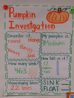 The Great Pumpkin Investigation--recording chart, great activity for kids this Halloween! Fall Preschool, Kindergarten Science, Science Classroom, Teaching Science, Classroom Activities, October Preschool Themes, Teaching Ideas, Classroom Ideas, Teaching Babies