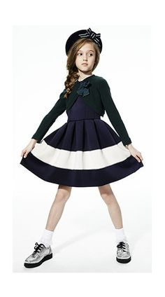 Jakioo - Navy blue and ivory neoprene dress - 44897