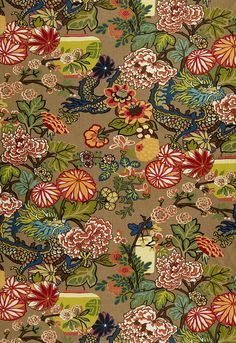 LOVE this fabric/wallpaper Chiang Mai Dragon was originally derived from an exuberant 1920's Art Deco era block print.