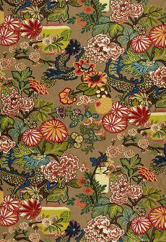 LOVE this fabric/wallpaper Chiang Mai Dragon was originally derived from an exuberant 1920's Art Deco era block print.