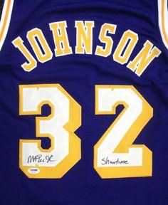 Magic Johnson Autographed Los Angeles Lakers Purple Jersey