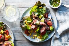 Healthy recipe for a grilled steak salad with corn and tomatoes
