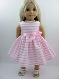 Pink and White Stripe Dress and Sash  for the American Girl Doll