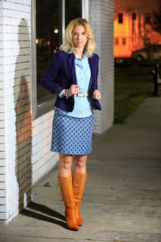 Work outfit, blue jacket, mustard boots, blue button down,