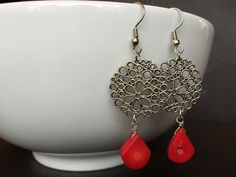 Silver and Red Coral Dangle Earrings by MarmaladeAndMayberry