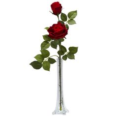 Nearly Natural 1283 Roses with Tall Bud Vase Silk Flower Arrangement, Red -- To view further for this item, visit the image link.