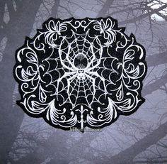 Damask Gothic Spiderweb Black White Iron On by MTthreadz on Etsy