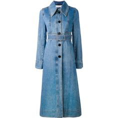 Marni Belted Denim Coat (16.594.240 IDR) ❤ liked on Polyvore featuring outerwear, coats, marni coat, flared coat, long sleeve coat, belted coat and flare coat