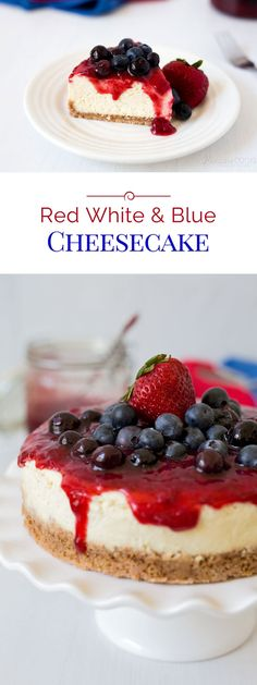 Creamy, rich, silky smooth vanilla cheesecake topped with juicy, sweet fresh strawberries and blueberries. A Red White and Blue Pressure Cooker Cheesecake that is the perfect dessert for the 4th of July.
