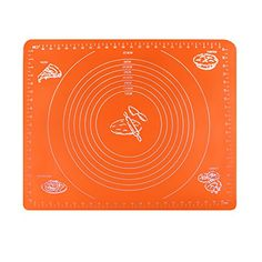 Silicone Baking Mat KinHom 16  20 Reusable NonStick Baking Pastry Rolling Heat Resistant Table Mat with Measurements Chef Tools for PizzaBreadsLasagnaand other Recipes in Kitchen Orange *** This is an Amazon Affiliate link. You can get additional details at the image link.