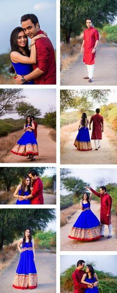 Pre wedding shoot in the woods. Super cute couple poses. Gorgeous blue Indian anarkali outfit. Red kurta