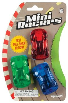 "Toy Racer Mini. Design is stylish and innovative. Plastic. Satisfaction Ensured. As Shown color. Includes (3) assorted mini pull back race cars. 2"". Manufacturer minimun age: 96 months. Manufactured to the Highest Quality Available. Dimensions: 1 - 475 - 100 - 700 - hundredths-inches. Great Gift Idea. One-Size."