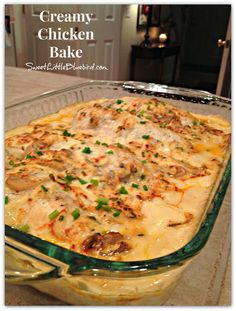 Creamy Chicken Bake - Sweet Little Bluebird Today I am sharing a simple chicken bake that makes a wonderful dinner for a busy day, or any day for that matter. It's mmm, mmm good! CREAMY CHICKEN BAKE One of my favorite chicken Creamy Chicken Bake, Cream Of Chicken Soup, Cream Of Mushroom Chicken, Onion Soup Mix Recipe Chicken, Cheesy Chicken, Chicken Potato Bake, Chicken With Cream Of Celery Soup Recipe, Recipes With Onion Soup Mix, Chicken Bake Casserole