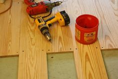 DIY wood floors with jacobean stain