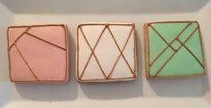 Geometric Wedding Royal Icing Sugar Cookies by @cookiesbykatewi