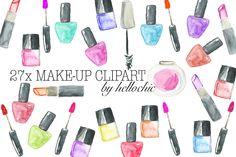 Watercolour Make-Up Cliparts by dagmarauhl on Creative Market