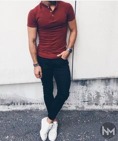 Men Red Polo Shirt with Dark Jeans and White Sneakers Best Picture For REd dress outfit For Your Taste You are looking for something, and it is going Red Polo Shirt Outfit, Red Shirt Outfits, Red Shirt Mens, Polo Shirt Style, Sneakers Outfit Men, White Sneakers, White Shoes Outfit, Men's Sneakers, Mein Style