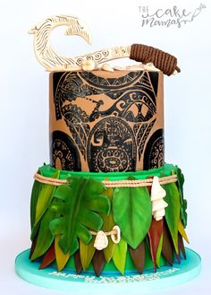 Maui themed birthday cake! #mauiparty #moanacake #moanaparty #hawaiian #disney #disneyprincess Moana Party, Moana Birthday Party Theme, Moana Themed Party, Themed Birthday Cakes, Boy Birthday Parties, Themed Cakes, Aloha Party, Festa Moana Baby, Bolo Moana