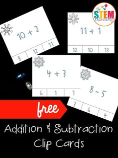 Free winter addition and subtraction clip cards! Fun first grade math center for winter.