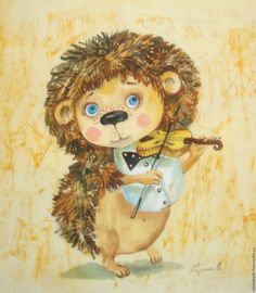 "Купить Ежиные истории ""Музыкант"" - бежевый, еж, картина, музыка, музыкант, скрипка, скрипач, интерьер"