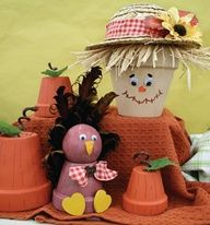Turkey and scarecrow adorable Thanksgiving outside décor.
