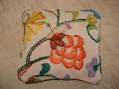 Crewel Embroidery Sachet Pin Cushion  Flowers  by backgatecottage, $20.00