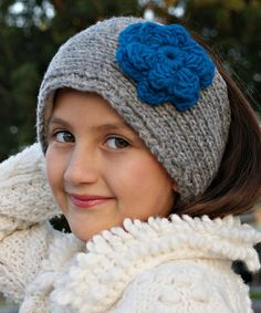 Look at this #zulilyfind! Gray & Teal Rosa Cable Knit Wool Head Warmer by Little Cotton Dress #zulilyfinds