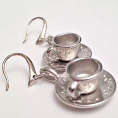 coffee cup ladies earrings silver dangles by DonnaDStore on Etsy