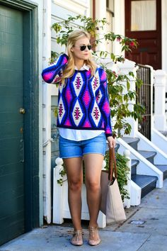 Weekend Casual in denim shorts and a @shoptobi sweater