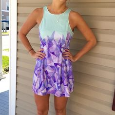 """Tobi dress Tight up top and flows out a little toward bottom. Perfect summer colors. Worn twice. Great condition! My height is 5""""8 Tobi Dresses Mini"""