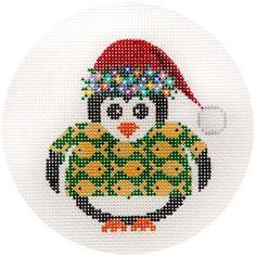 "NEEDLEPOINT HandPainted JP Needlepoint CHRISTMAS Hawaiian Penguin Ornament 4.5"""