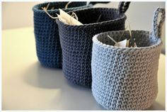 knitted bags - think of doing some of these Diy Crochet Basket, Diy Crochet And Knitting, Crochet Amigurumi, Crochet Home, Easy Crochet, Cotton Cord, Knitted Bags, Beautiful Crochet, Crochet Projects