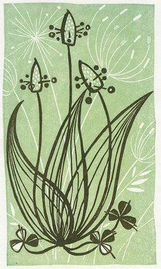 This simple linocut shows us the basic detail of a Ribwort flower. It also presents a very greenish tint with seems to settle faintly in the background. What I like about this art is that Angie has made a small turn during the process of this creation and started engraving some sleight detail into the leaves just below the Ribwort heads.