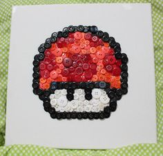 8bit Button Art  Super Mario Mushrooms by LittleBlobOfGreen