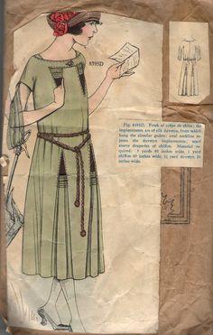 Antique 1920s Elite Styles Pattern 8395D Miss' Dress Bust 40 Waist 29 Hip 41 | eBay