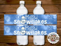 MELTED SNOWFLAKES WATER bottle label, Christmas Decor, Christmas Party, Birthday Party, Melted Snowman, Pink Frosting Paperie by PinkFrostingPaperie on Etsy https://www.etsy.com/listing/172343040/melted-snowflakes-water-bottle-label